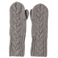 Lowie Virgin Wool Cable Knit Mittens In Grey