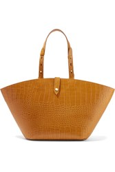 Nanushka Carmen Croc Effect Leather Tote Tan