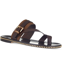 Louis Leeman Toe Strap Buckle Sandals Brown