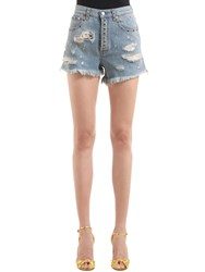 Gucci Ripped Denim Shorts W Studded Details