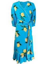 Chinti And Parker Floral Wrap Dress Blue