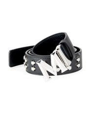 Mcm Studded Leather Belt Black