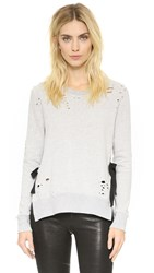 Pam And Gela Side Slit Destroyed Sweatshirt Heather Grey