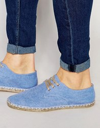 Asos Derby Espadrilles In Blue Chambray Blue