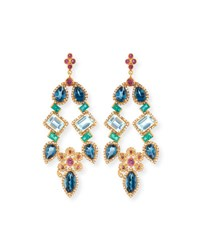 Coomi 20K Pink Topaz Blue Topaz And Emerald Chandelier Earrings With Diamonds