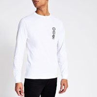 River Island White 'Unknwn' Long Sleeve Slim Fit T Shirt