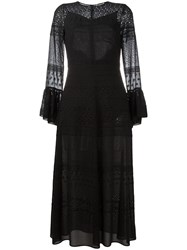 Saint Laurent Bell Sleeve Broderie Anglaise Dress Black