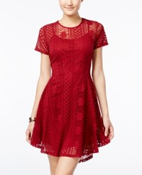 American Rag Lace Fit And Flare Dress Only At Macy's Biking Red