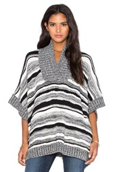 525 America Variegated Stripe V Neck Poncho Black