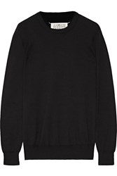 Maison Martin Margiela Leather Trimmed Cotton And Wool Blend Sweatshirt Black