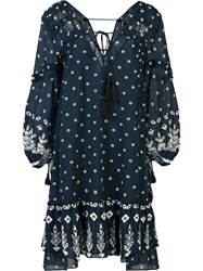 Derek Lam 10 Crosby Floral Print Sheer Dress Blue