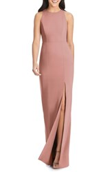 Dessy Collection Sleeveless Crepe Gown Desert Rose