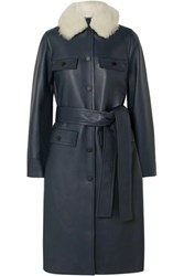 Yves Salomon Belted Shearling Trimmed Leather Coat Navy