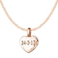 Dower And Hall Engravable Flat Heart Pendant Necklace Rose Gold