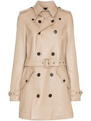 Saint Laurent Double Breasted Leather Trench Coat Neutrals