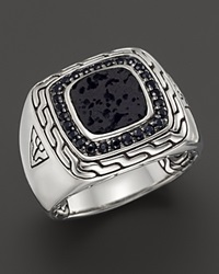 John Hardy Men's Batu Classic Chain Sterling Silver Square Ring With Black Volcanic Rock And Black Sapphire Lava Silver Black