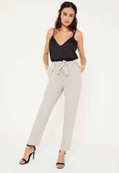 Missguided Tall Grey Pleated Waist Cigarette Trousers