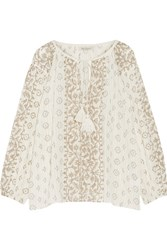 Mes Demoiselles Jarod Printed Cotton Gauze Blouse Cream