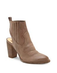 Dolce Vita Leather Booties With Wooden Heels Taupe