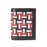 Thom Browne Woven Leather Wallet Red White And Blue