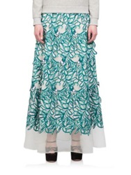 Giamba Embroidered Long Skirt Teal