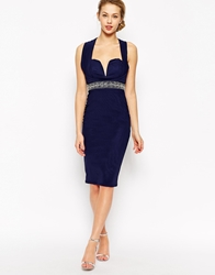 Tfnc Pencil Dress With Wrap High Neck And Embellished Waist Navy