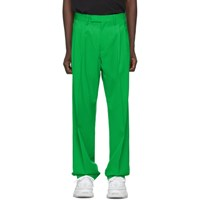 Off White Green Wool Classic Trousers