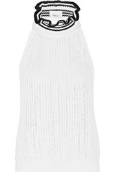 3.1 Phillip Lim Backless Ribbed Cotton Blend Top White