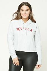 Forever 21 Plus Size Ny To La Hoodie Heather Grey Red