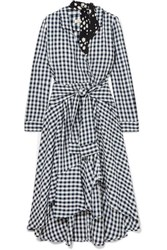 Maje Wrap Effect Floral Print Crepe Trimmed Gingham Seersucker Dress Black