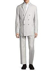 Faconnable Double Breasted Solid Suit Grey