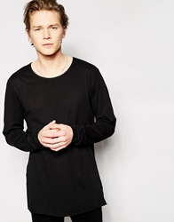 Weekday Long Sleeve Top Long Line Lightweight Black