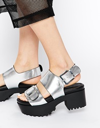 Monki Aika Silver Grunge Sole Heeled Sandals