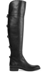 Valentino Bow Embellished Leather Knee Boots Black