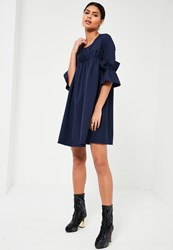 Missguided Navy Frill Detail Swing Dress
