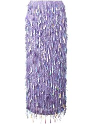 Ashish Sequin Maxi Skirt Pink And Purple