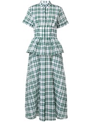 Rosie Assoulin Peplum Plaid Dress Green