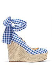 Christian Louboutin Barbaria Zeppa 140 Gingham Canvas Wedge Espadrilles Navy Gbp