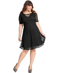 Love Squared Plus Size Short Sleeve Lace A Line Dress Black