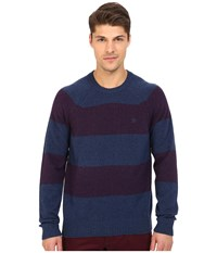 Original Penguin Long Sleeve Jersey Wide Striped Crew W Cable Raglan Jersey Medieval Blue Men's Sweater Navy