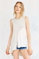 Truly Madly Deeply Woven Insert Tank Top Grey