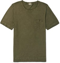 Massimo Alba Watercolour Dyed Cotton Jersey T Shirt Green
