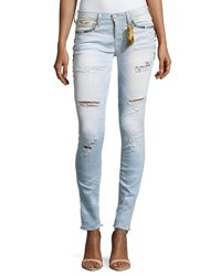 Robin's Jeans Marilyn Distressed Studded Skinny W Zip Cuffs Blue