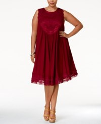 American Rag Plus Size Crochet Front Layered Shift Dress Only At Macy's Rasberry