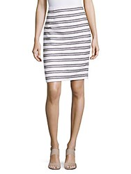 Calvin Klein Boucle Striped Cotton Skirt White Navy