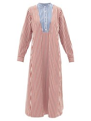 Thierry Colson Victoria Striped Cotton Poplin Midi Tunic Dress Red Multi