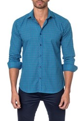 Jared Lang Long Sleeve Plaid Semi Fitted Shirt Blue