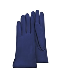 Forzieri Women's Bright Blue Calf Leather Gloves W Silk Lining