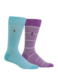 Polo Ralph Lauren Mid Calf Socks Pack Of 2 Aqua