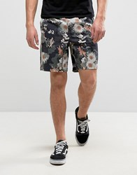 Asos Elasticated Waist Slim Shorts With Floral Print Khaki Green